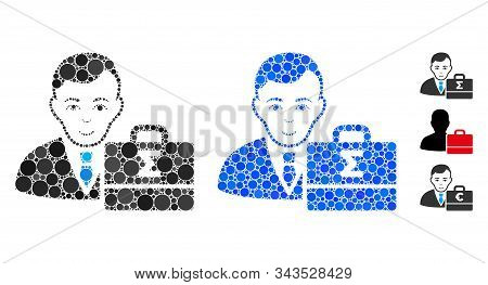 Bookkeeper Mosaic Of Circle Elements In Various Sizes And Color Tones, Based On Bookkeeper Icon. Vec