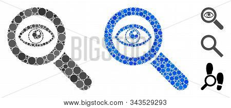 Eye Explore Composition Of Round Dots In Variable Sizes And Shades, Based On Eye Explore Icon. Vecto