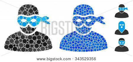 Masked Thief Mosaic Of Filled Circles In Various Sizes And Color Hues, Based On Masked Thief Icon. V