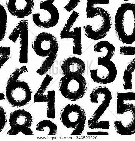 Grunge Numbers Vector Seamless Pattern. Grunge Dirty Painted Numbers Background. Monochrome Vector A