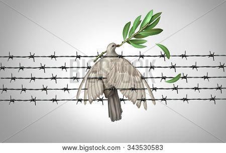 Peace Crisis Failure And War Distress As A White Dove Holding An Olive Branch In Danger Representing