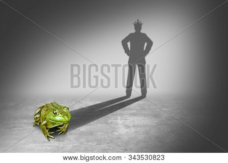Frog Prince Casting A Shadow Of A Royal Prince Charming Wearing A Gold Crown Representing The Fairy