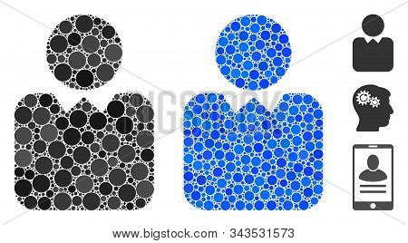 Client Mosaic Of Small Circles In Different Sizes And Color Tinges, Based On Client Icon. Vector Sma