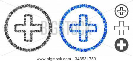 Create Mosaic Of Small Circles In Different Sizes And Color Hues, Based On Create Icon. Vector Small