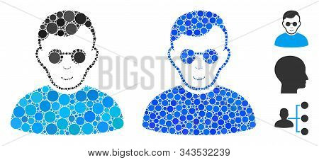 Blind Man Mosaic Of Circle Elements In Various Sizes And Color Tinges, Based On Blind Man Icon. Vect