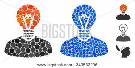 Inventor Mosaic Of Small Circles In Variable Sizes And Color Tinges, Based On Inventor Icon. Vector