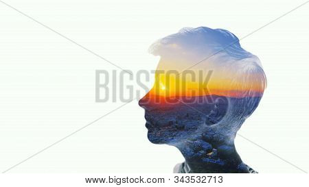 Double Multiply Exposure Beautiful Woman Head Silhouette Portrait White Isolated With Sun In Eye Sky