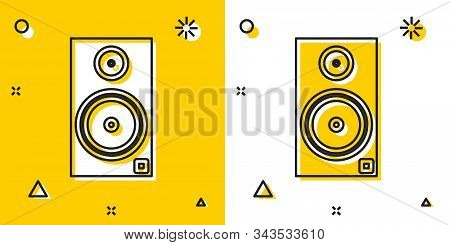 Black Stereo Speaker Icon Isolated On Yellow And White Background. Sound System Speakers. Music Icon