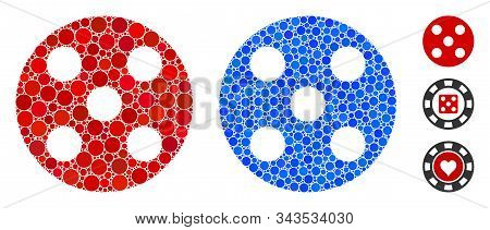 Round Dice Composition Of Round Dots In Different Sizes And Shades, Based On Round Dice Icon. Vector