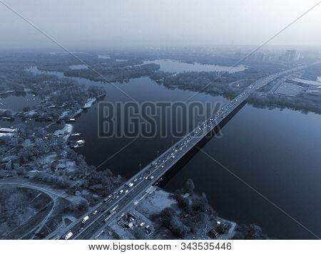 Moscow Bridge across Dnepr River, photo from drone. Kiev,Ukraine