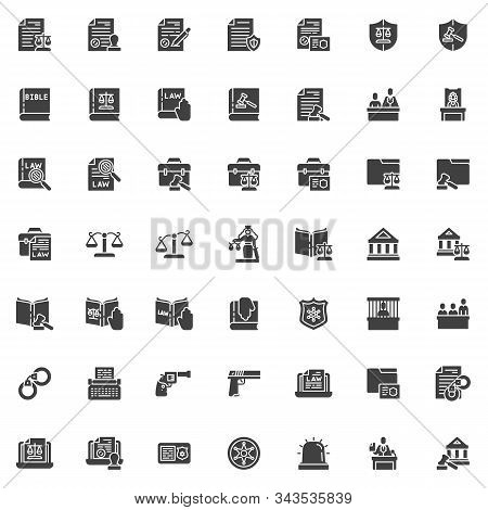 Law And Justice Vector Icons Set, Modern Solid Symbol Collection Filled Style Pictogram Pack. Signs,