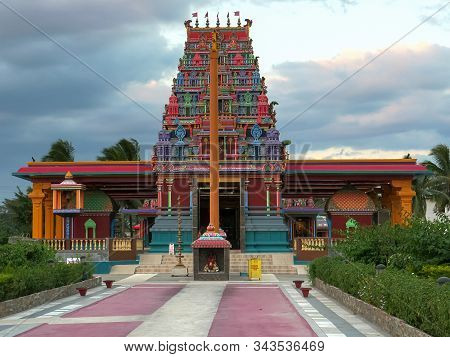 Nadi Fiji- Aug, 8, 2018: Wide Shot Of The Front Of The Hindu Temple In Nadi, Fiji