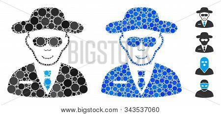 Spy Composition Of Filled Circles In Variable Sizes And Shades, Based On Spy Icon. Vector Filled Cir