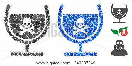 Poison Glass Mosaic Of Circle Elements In Various Sizes And Shades, Based On Poison Glass Icon. Vect
