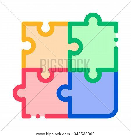 Interactive Kids Game Puzzle Vector Sign Icon Thin Line. Baby And Adult Table Game Children Playing