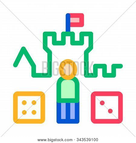 Interactive Kids Castle Personage Vector Sign Icon Thin Line. Castle, Character Figure And Glassie G