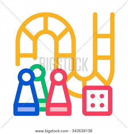 Interactive Kids Board Game Vector Thin Line Icon. Counter Figures, Game Squares And Cube Glassie Ch