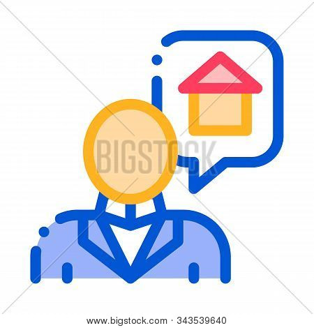 Character Man Thinking Dream Buy House Vector Icon Thin Line. Businessman Dreaming Want Sale Or Rent
