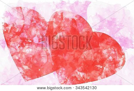 Two Red Hearts On Pink Watercolor Background, Watercolor Painting For Valentine's Day