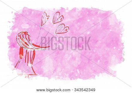 Girl Holding Heart Shape Balloons On Pink Watercolor Background, Watercolor Painting For Valentine's