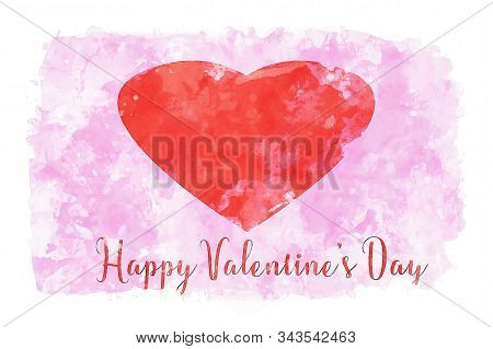 Red Hearts On Pink Watercolor Background, Watercolor Painting For Valentine's Day