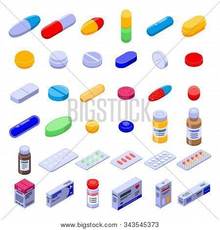 Pill Drug Icons Set. Isometric Set Of Pill Drug Vector Icons For Web Design Isolated On White Backgr
