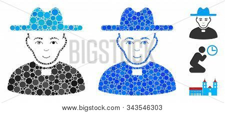 Catholic Priest Mosaic Of Small Circles In Different Sizes And Color Tints, Based On Catholic Priest