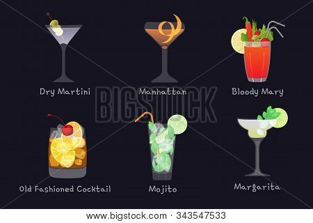 Set Of Vector Alcohol Bar Drinks - Mojito, Manhattan Cocktail, Bloody Mary, Old Fashioned And Margar