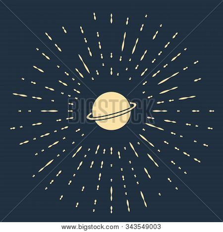 Beige Planet Saturn With Planetary Ring System Icon Isolated On Blue Background. Abstract Circle Ran