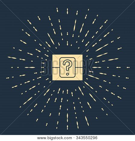 Beige Mystery Box Or Random Loot Box For Games Icon Isolated On Blue Background. Question Box. Abstr