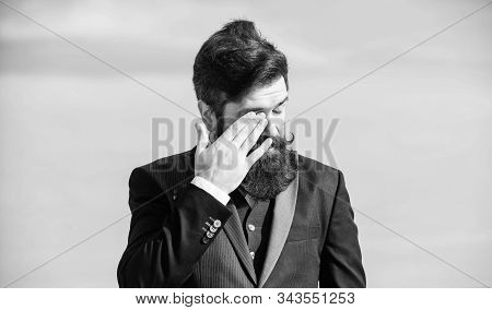 Tired Employer Touch Face. Businessman Against The Sky. Brutal Caucasian Employer With Moustache. Ma