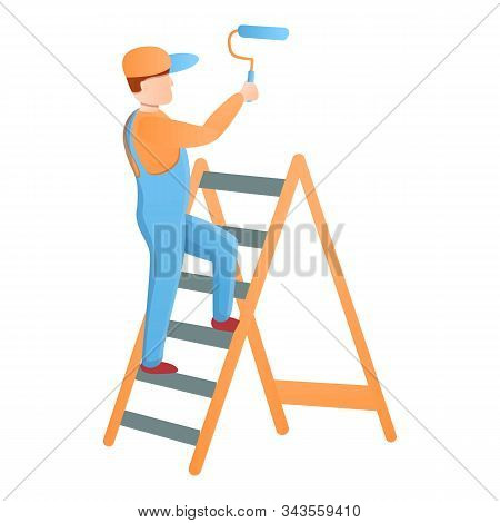 Painter Guy On A Stepladder Icon. Cartoon Of Painter Guy On A Stepladder Vector Icon For Web Design
