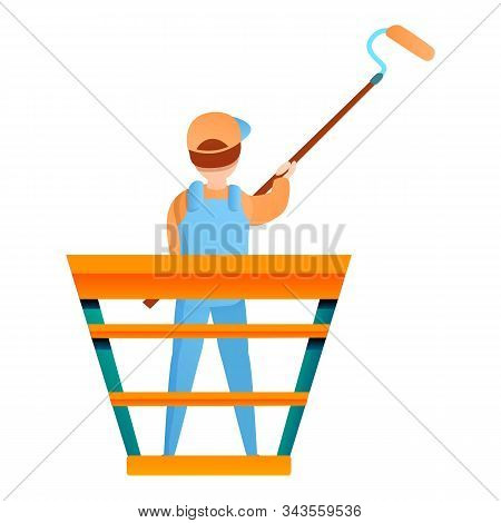 House Painter Guy Works Height Icon. Cartoon Of House Painter Guy Works Height Vector Icon For Web D
