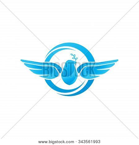 Dove Logo Icon Vector Illustration. Abstract Line Art Of A Flying Dove With Olive Branch