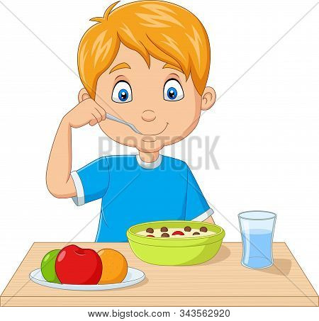 Vector Illustration Of Cartoon Little Boy Having Breakfast Cereals With Fruits