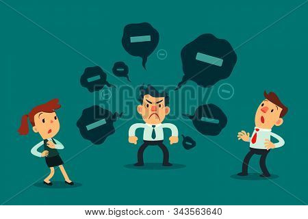 Stressed Businessman Spread Negative Thoughts To His Colleague. Toxic People Business Concept.