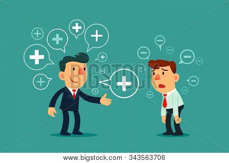 Successful Business Manager Sharing Positive Thinking Symbol To Depressed Employee. Positive Thinkin
