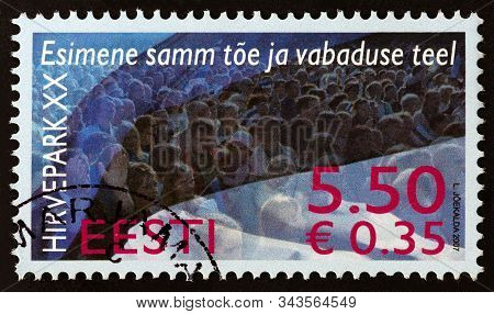 Estonia - Circa 2007: A Stamp Printed In Estonia Issued For The 20th Anniversary Of The Hirvepark De