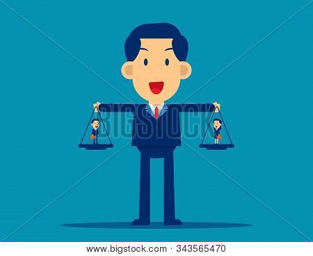 Manager Comparing Two Employees. Concept Business Office Vector Illustration. Team, Compare