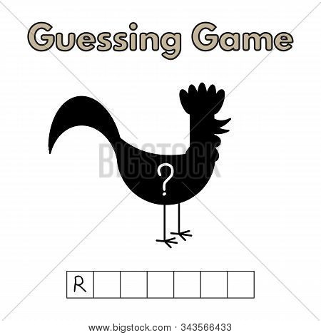 Cartoon Rooster Guessing Game. Vector Illustration For Children Education