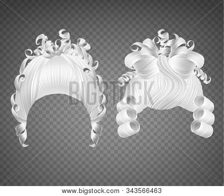 White Curly Girl Wig, Women Rococo Hairstyle. Vector Set Of Realistic Vintage Princess Hairstyle For