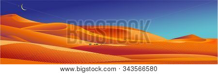 Sand Desert Landscape. Vector Background With Dunes, Moon And Star In Night Sky. Cartoon Illustratio