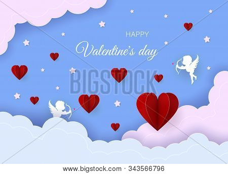 Valentines day concept. Valentines day banner, clouds in the sky, stars, angels, red hearts. Heart origami mobile. Valentine, valentine day, Valentines Day background, Valentine's day banners, Valentines Day flyer, Valentines Day design, Valentines Day wi