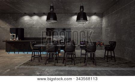 Stylish black kitchen in a modern dark loft interior. 3d Rendering