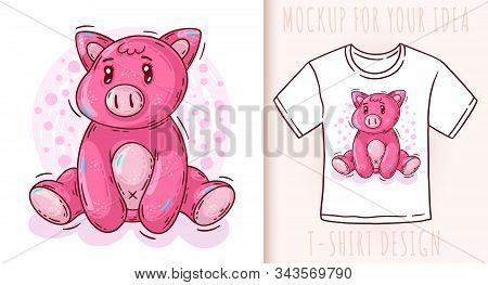 Cartoon Cute Baby Pig. Vector Illustration On White Background.
