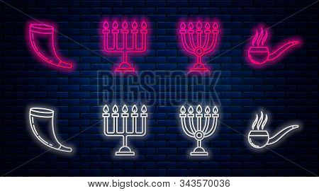 Set Line Hanukkah Menorah, Hanukkah Menorah, Traditional Ram Horn, Shofar And Smoking Pipe With Smok