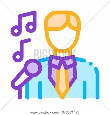 Man In Suit With Microphone Singing Recital Vector Icon Thin Line. Microphone And Dynamic, Concert A