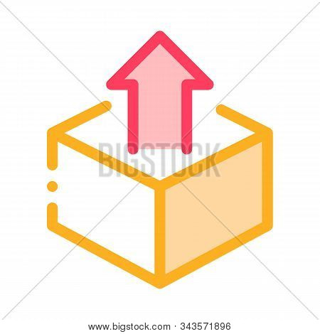 Box Container With Arrow Agile Element Vector Icon Thin Line. Agile Rocket And Document, Gear And Pa