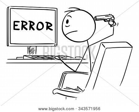 Vector Cartoon Stick Figure Drawing Of Desperate Man Or Businessman Working On Computer And Watching