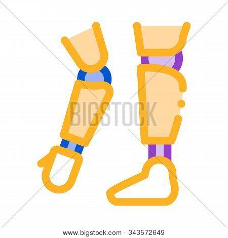Prosthetics Of Arms And Leg Orthopedic Vector Icon Thin Line. Orthopedic And Trauma Rehabilitation,